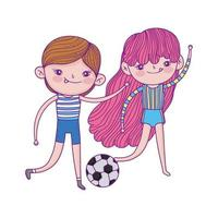 happy childrens day, girl and boys with soccer ball park vector