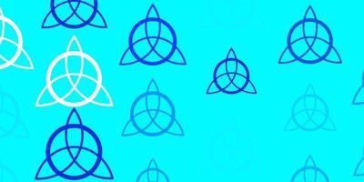 plantilla de vector azul claro con signos esotéricos.