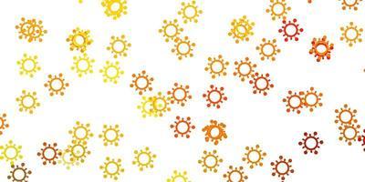 plantilla de vector amarillo claro con signos de gripe.
