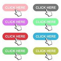 Haga clic aquí ilustración de diseño de vector de botón aislado sobre fondo blanco
