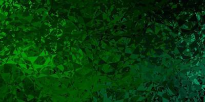 Dark green vector texture with random triangles.