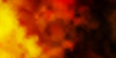Telón de fondo de vector amarillo oscuro con cúmulos.
