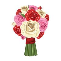 Bouquet of flowers vector design illustration isolated on white background