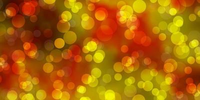 Dark Yellow vector background with bubbles.