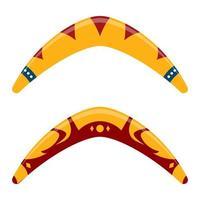 Ilustración de diseño de vector de boomerang de madera aislado sobre fondo blanco