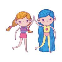 happy childrens day, two little girls together cartoon characters vector