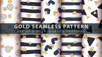 Gold modern glitter seamless pattern set vector