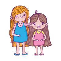 feliz día del niño, dos niñas juntas personajes de dibujos animados vector