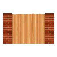 Wooden fence with pillars of bricks vector design illustration isolated on white background