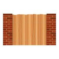 Valla de madera con pilares de ladrillos ilustración de diseño vectorial aislado sobre fondo blanco. vector