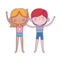 happy childrens day, smiling little boy and girl cartoon vector