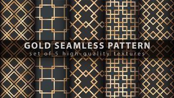 Gold geometric glitter seamless pattern set vector