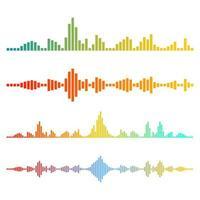 Ilustración de diseño de vector de ondas de música aislado sobre fondo blanco