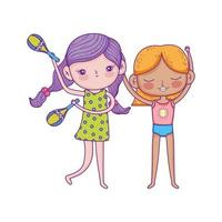 happy childrens day, girls with music cartoon characters vector