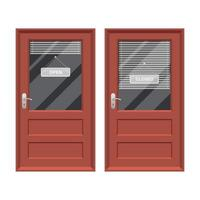 Shop door with open and closed sign vector design illustration isolated on white background