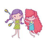 feliz día del niño, chicas con personajes de dibujos animados de música vector