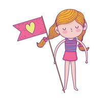 feliz día del niño, niña con bandera amor corazón dibujos animados vector
