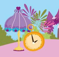 lamp clock time leaves foliage decoration vector