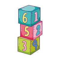 toys pile cube blocks building cartoon vector
