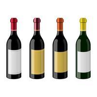 Botella de vino ilustración de diseño vectorial aislado sobre fondo blanco.