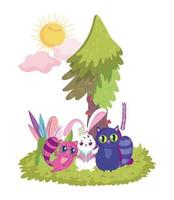wonderland, cute cats and rabbit grass tree sun vector