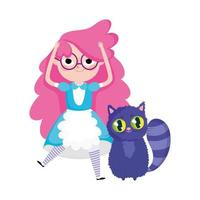 personajes de dibujos animados de niña y gato del país de las maravillas vector
