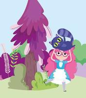 niña sosteniendo gato árbol arbustos prado en el país de las maravillas vector