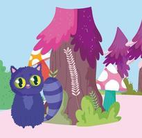 país de las maravillas, gato seta árbol naturaleza dibujos animados vector
