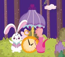 país de las maravillas, conejo reloj lámpara tetera bosque dibujos animados vector