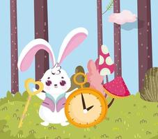 wonderland, rabbit with key and clock forest vector