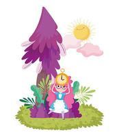 girl holding clock tree foliage sun clouds in wonderland vector