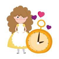 niña y reloj corazones aman personajes de dibujos animados país de las maravillas vector