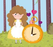 girl and clock hearts love forest grass in wonderland vector