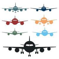 Ilustración de diseño de vector de vista frontal de avión aislado sobre fondo blanco