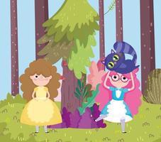niña con gato árbol bosque prado en el país de las maravillas vector
