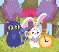 wonderland, cat and rabbit key clock trees forest grass vector