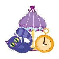 wonderland, cat lamp clock cartoon character vector