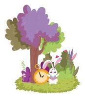 país de las maravillas, conejo y árbol de reloj arbusto de dibujos animados