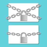 Tarjeta de crédito en cadena bloqueada con candado ilustración de diseño vectorial aislado sobre fondo