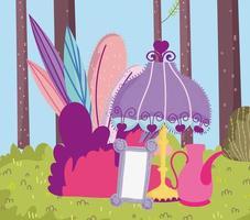 lámpara espejo tetera árboles forestales prado dibujos animados