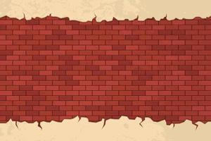 Grietas de ladrillo en la ilustración de diseño de vector de pared