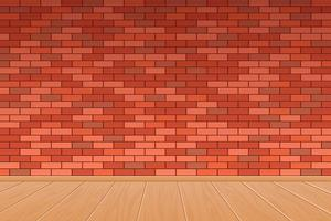 Brick wall and wooden floor background vector design illustration