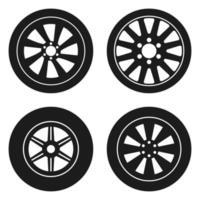 Ilustración de diseño de vector de neumático de coche aislado sobre fondo blanco