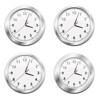 Ilustración de diseño de vector de reloj de pared metálico aislado sobre fondo blanco