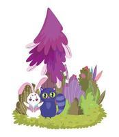 wonderland, rabbit and cat tree foliage meadow vector