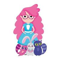 girl with cats and rabbit wonderland cartoon characters vector