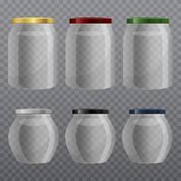 Ilustración de diseño de vector de tarro de vidrio vacío aislado sobre fondo
