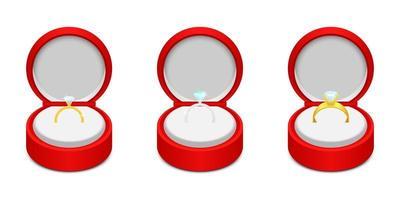 Ilustración de diseño de vector de anillo de compromiso aislado sobre fondo blanco