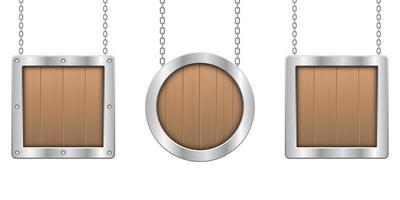 Tablero colgante de madera con ilustración de diseño de vector de marco metálico aislado sobre fondo blanco