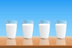 vaso de leche fresca ilustración de diseño vectorial vector